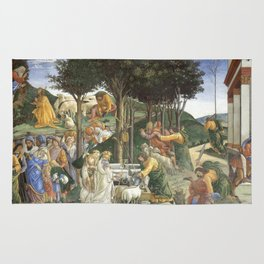 Trials of Moses Painting by Botticelli - Sistine Chapel Rug