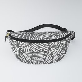 Textured black triangles zentangle pattern Fanny Pack