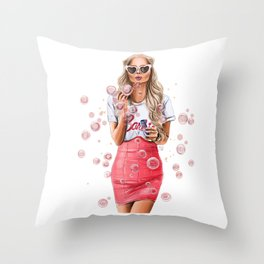 Girl with bubbles Throw Pillow