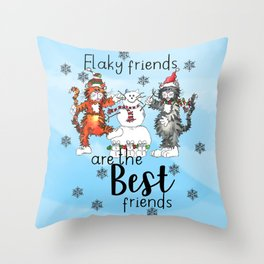 Flaky Friends are the Best Friends Throw Pillow