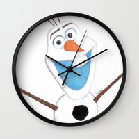 olaf Wall Clocks featuring olaf likes warm hugs  by Art_By_Sarah