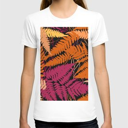 leafs tropical fern palm. orange pink brown silhouette on Black background T-shirt