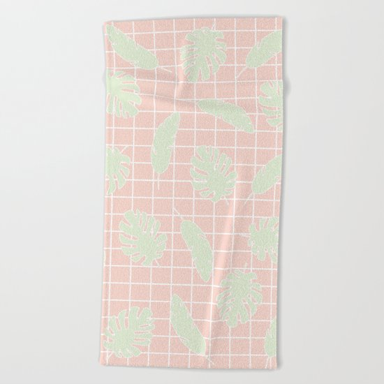 Graphic Tropical Leaves on Grid Pink and Mint Green Beach Towel
