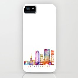 Jacksonville skyline landmarks in watercolor iPhone Case