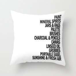 What a Plein Air Oil Painter Needs for a Perfect Day... Throw Pillow