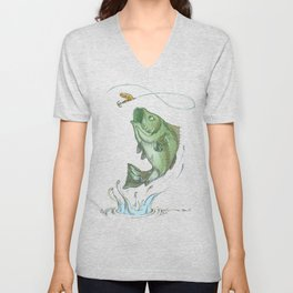 Largemouth Bass Jumping Out Of Water At Night // Spinner lure // Splashing Water // Fish On! Unisex V-Neck