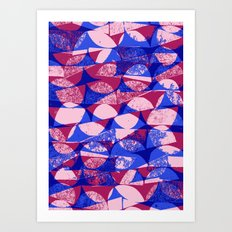Pink and Bue semi circles Art Print