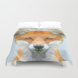 Low poly fox on blue/grey background Duvet Cover
