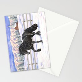 Friesian Horse Trotting In Snow Stationery Cards