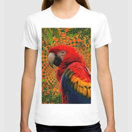 RED JUNGLE MACAW PATTERN ABSTRACT T-shirt