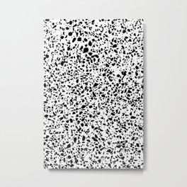 Black and White Dalmatian Pattern Dots Terrazzo Print Metal Print