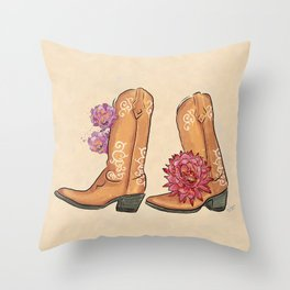 Boots Traveler Succulent Flowers_Lavender & Red palette _ digital modern watercolor shoes Throw Pillow