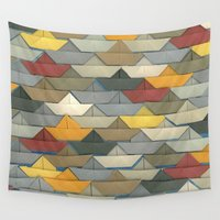 boats Wall Tapestries featuring Boats by GLOILLUSTRATION
