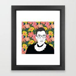Ruth Bader Ginsburg Floral Framed Art Print