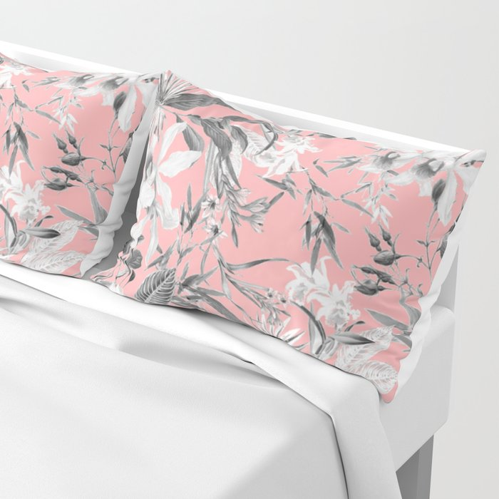 Black And White Fl On Light Pink Pillow Sham By Semisweetbrand