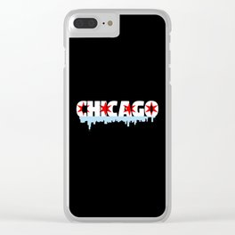 Chicago Flag Skyline Clear iPhone Case