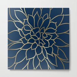 Floral Prints, Line Art, Navy Blue and Gold, Artist Prints Metal Print