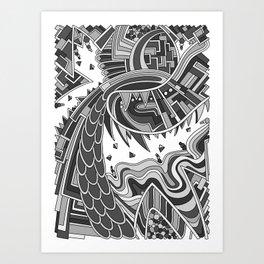 Wandering 49: grayscale Art Print