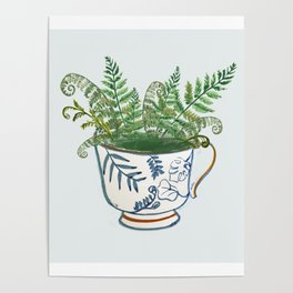Fern in a Blue and White Tea Cup Poster