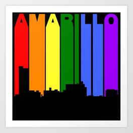 Amarillo Texas Gay Pride Rainbow Skyline Art Print