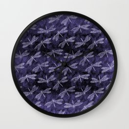 Purple Dragonfly Twighlight Dance Wall Clock