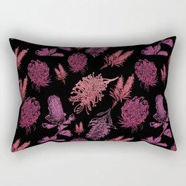 Beautiful Pink Australian Native Floral Pattern Rectangular Pillow