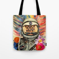 nasa Tote Bags featuring NASA Messed Me Up by Collage Calamity