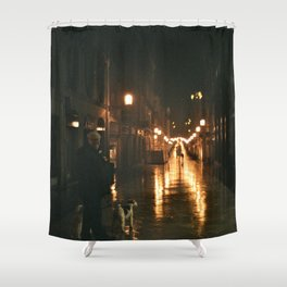 Old men with a dog - Bordeaux Shower Curtain