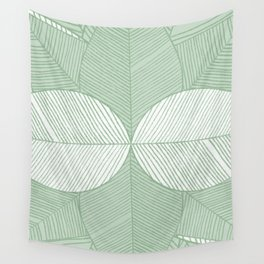 Minimal Tropical Leaves Pastel Green Wall Tapestry