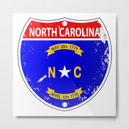 North Carolina Flag Icons As Interstate Sign Metal Print