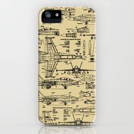 F-18 Blueprints // Tan iPhone Case