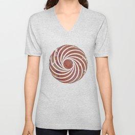 Caravans II:  Asian Print  Plum, gold, pink grey origami textile geometric design Unisex V-Neck