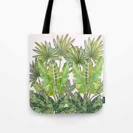 Green Tropical Jungle & White_Hand Painted watercolour & ink Tote Bag