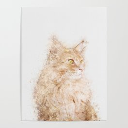 Cat Watercolor Poster
