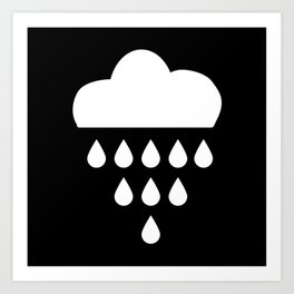 clound with rain drops. black white Art Print