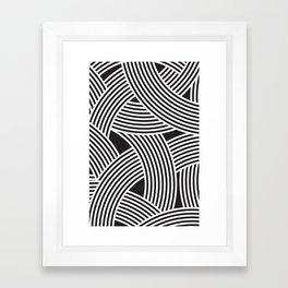 Modern Scandinavian B&W Black and White Curve Graphic Memphis Milan Inspired Framed Art Print