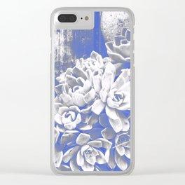 Cobalt & White Hen & Chick Succulents Clear iPhone Case