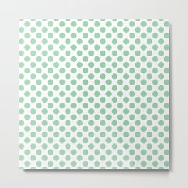 Small Mint Green Polka Dots Metal Print