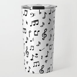 Music notes in black and white Travel Mug