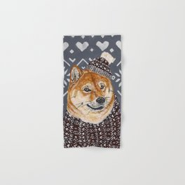 Shiba Inu in a  Hat and Scarf Hand & Bath Towel