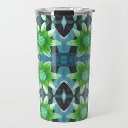 Blue Tropical Bromiliad Panel Travel Mug