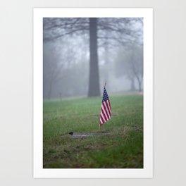 Small American Flag at Grave Marker Art Print