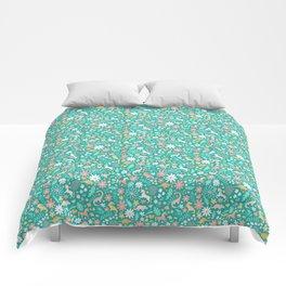 Dinosaurs + Unicorns on Teal Comforters