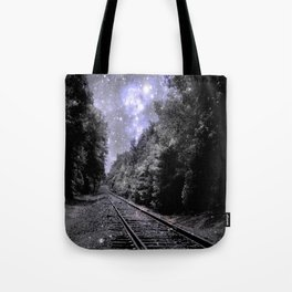 Train Tracks Next Stop Anywhere Periwinkle Gray Tote Bag