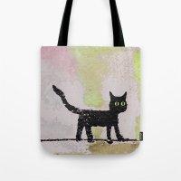 black cat Tote Bags featuring Black Cat by Brontosaurus