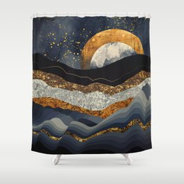 Metallic Mountains Shower Curtain