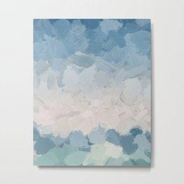 Mint Blue Aqua Sky Ocean Abstract Art Painting Clouds Water Waves Metal Print