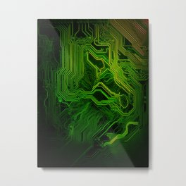 Green glowing circuit - by Brian Vegas Metal Print