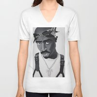 tupac V-neck T-shirts featuring Pop Cult™ - Tupac 2 by Lina Barbarin - Pop Cult™ & Aminals™