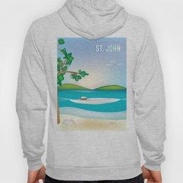 St. John, Virgin Islands - Skyline Illustration by Loose Petal Hoody